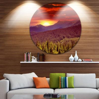 Design Art Fantastic Sunrise in Mountains Circle Metal Wall Art