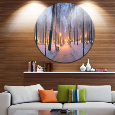 Design Art Mariinsky Garden in Winter Circle MetalWall Art
