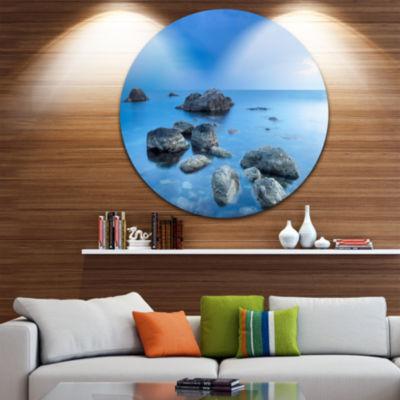Design Art Rocky Blue Sea Circle Metal Wall Art