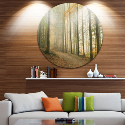 Design Art Path in Misty Autumn Forest Circle Metal Wall Art