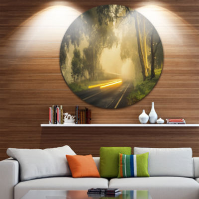 Design Art Country Drive Circle Metal Wall Art