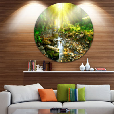 Design Art Mountain Stream in Forest Circle MetalWall Art