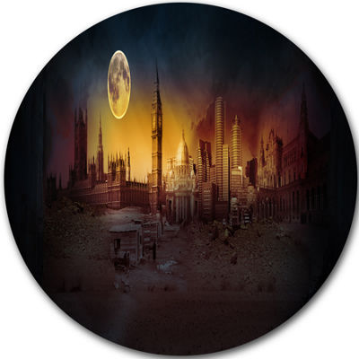 Design Art Mysterious Apocalyptic City Circle Metal Wall Art