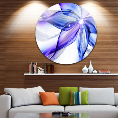 Design Art Fractal Bright Blue Flower Circle MetalWall Art