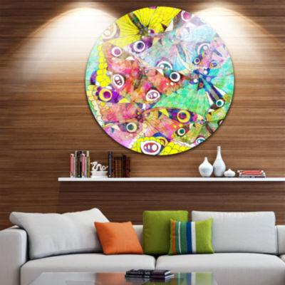 Design Art Seamless Butterflies Circle Metal WallArt