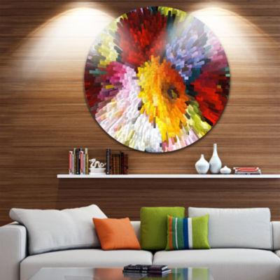 Design Art Extrusive 3D Fabric Flowers Circle Metal Wall Art