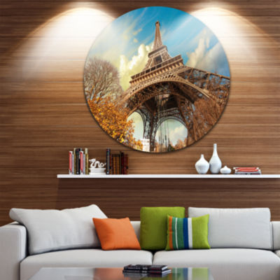 Design Art Eiffel with Winter Vegetation Circle Metal Wall Art