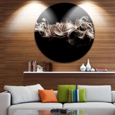 Design Art Fractal White Smoke Circle Metal Wall Art
