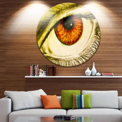 Design Art Eye with Orange Pupil Circle Metal WallArt