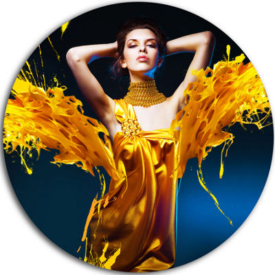 Design Art Woman in Yellow with Jewelry Circle Metal Wall Art