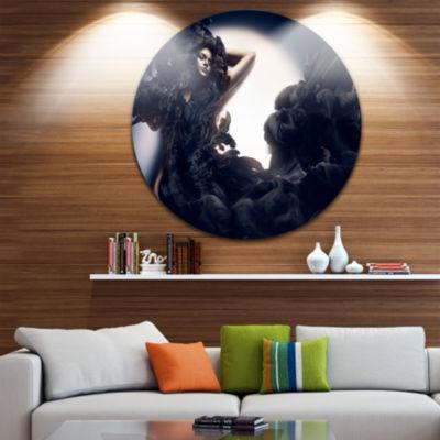 Design Art Fashion Woman in Black Smoke Circle Metal Wall Art