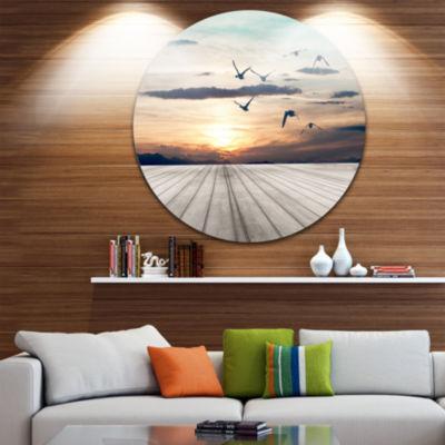 Design Art Wooden Floor Sunset Circle Metal Wall Art