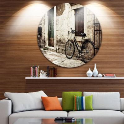 Design Art Bicycle with Shopping Bag Circle MetalWall Art