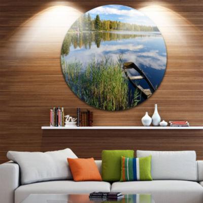 Design Art Beautiful Swedish September Lake CircleMetal Wall Art