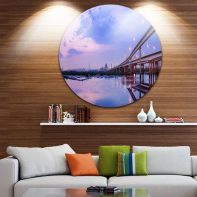 Design Art Purple Beach with Pier Circle Metal Wall Art