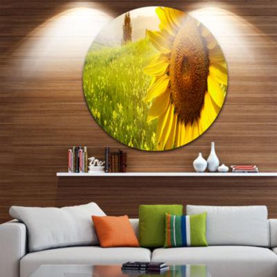 Design Art Yellow Field with Big Sunflower CircleMetal Wall Art