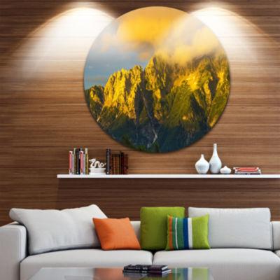 Design Art Highrise Green Mountains Circle Metal Wall Art