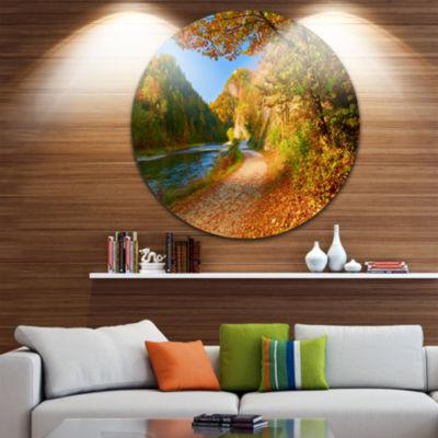 Design Art Dunajec River Gorge in Autumn Circle Metal Wall Art