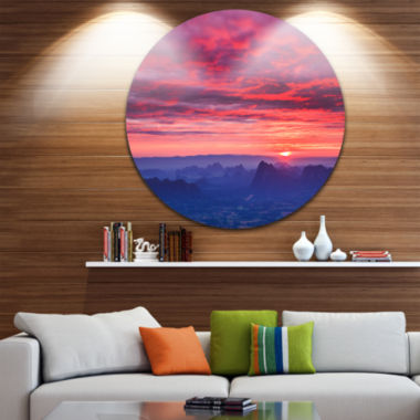 Design Art Red and Blue Winter Mountains Circle Metal Wall Art