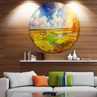 Design Art Meadow with Small Flood Sky Circle Metal Wall Art