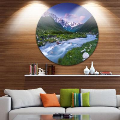 Design Art River in Caucasus Mountains Circle Metal Wall Art