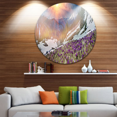 Design Art Crocus Flowers in Carpathians Circle Metal Wall Art