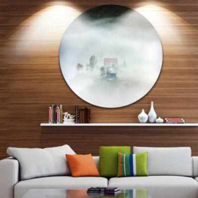 Design Art Morning Fog at Sunrise Circle Metal Wall Art