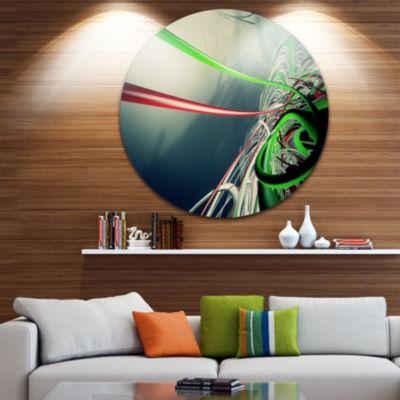 Design Art Fractal 3D Green Stripes Circle Metal Wall Art