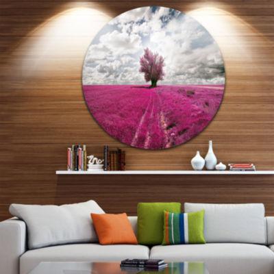 Design Art Purple Tree Dreamscape Circle Metal Wall Art