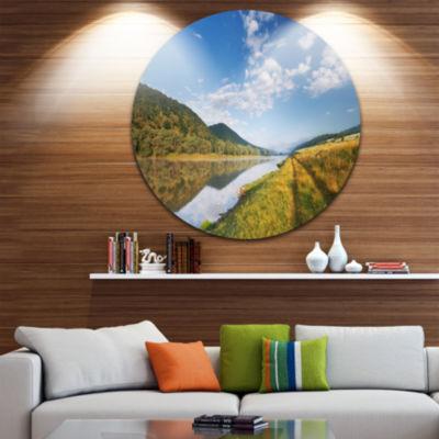 Design Art Mountain River under Blue Sky Circle Metal Wall Art