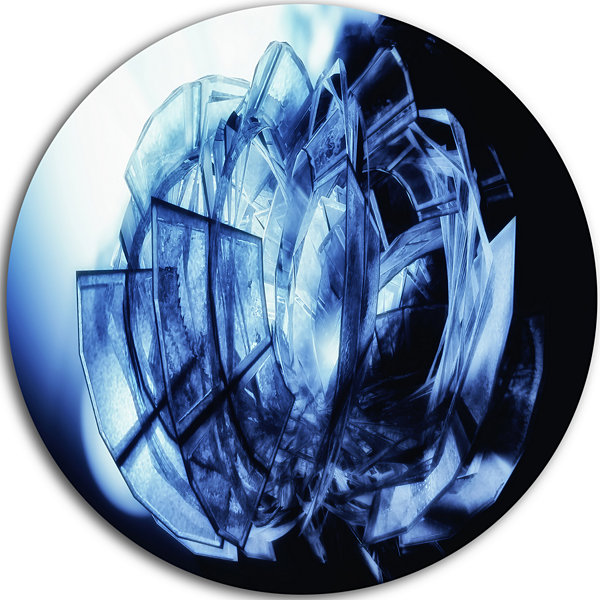 Design Art Fractal 3D Blue Glass Pattern Circle Metal Wall Art