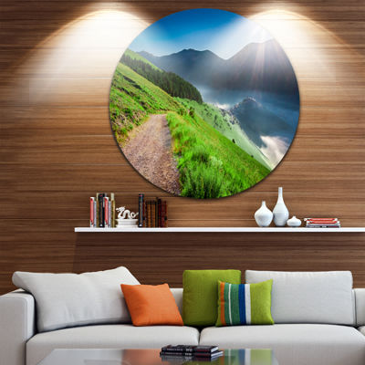 Design Art Umbria Mountains Sunny Sunrise Circle Metal Wall Art