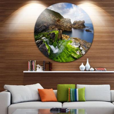 Design Art Rocks and Waterfall in Spanish Coast Circle Metal Wall Art