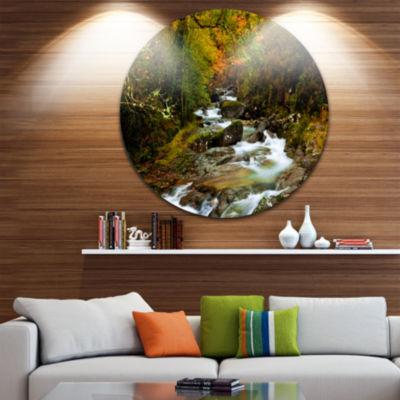 Design Art Flowing River in Autumn Circle Metal Wall Art