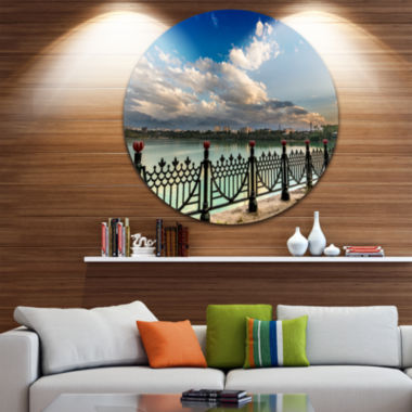 Design Art City Lake Under Clouds Circle Metal Wall Art