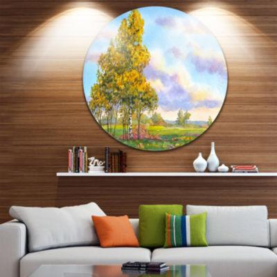 Design Art Green Trees in Evening Circle Metal Wall Art