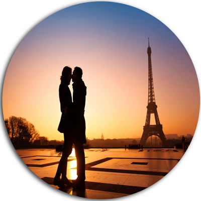 Design Art Eiffel with Kissing Couple Circle MetalWall Art