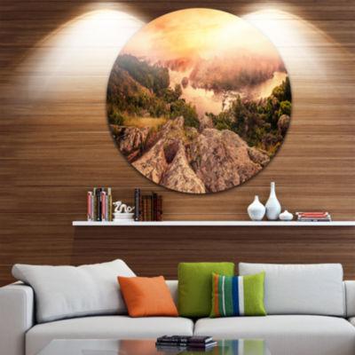 Design Art Vintage Mountain Sunrise Circle Metal Wall Art