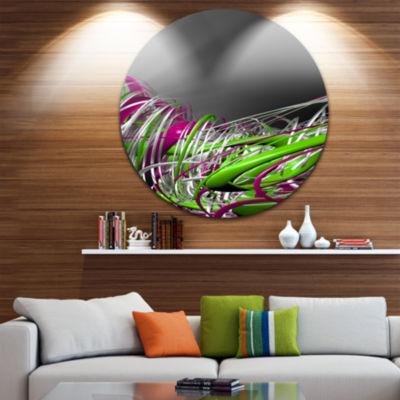 Design Art Fractal 3D Green Purple Stripes CircleMetal Wall Art