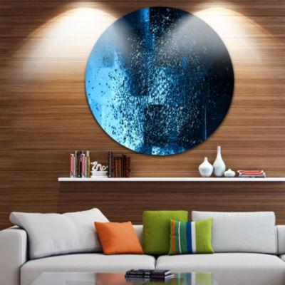 Design Art Fractal 3D Blue Paint Splash Circle Metal Wall Art