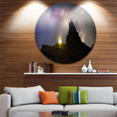 Design Art Rock Climbing to Base Camp Circle MetalWall Art