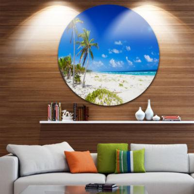 Design Art Beautiful Blue Sea with Palms Circle Metal Wall Art