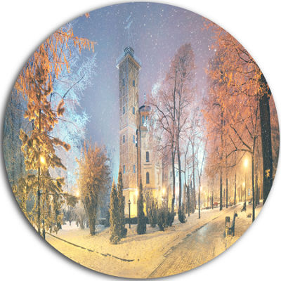 Design Art Mariinsky Garden in Yellow Tone CircleMetal Wall Art