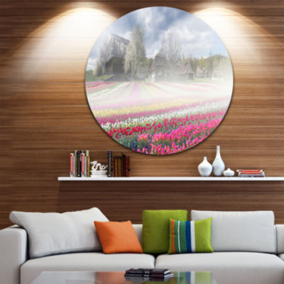 Design Art Field of Tulips in Pirogovo Circle Metal Wall Art