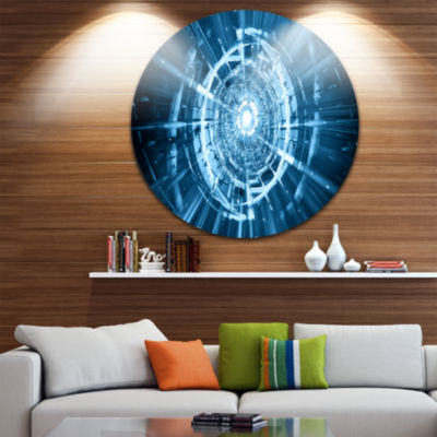 Design Art Fractal 3D Deep Blue Spiral Circle Metal Wall Art