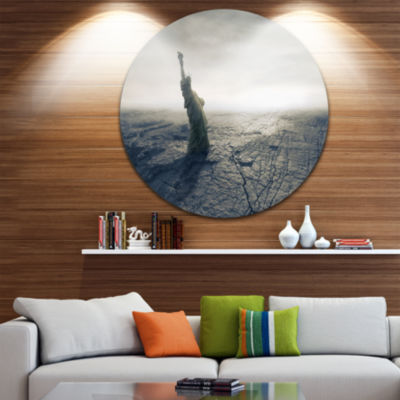 Design Art Statue of Liberty in Dried Field CircleMetal Wall Art