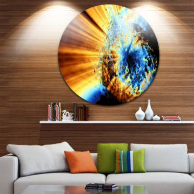 Design Art Fractal 3D Blue Brown Burst Circle Metal Wall Art