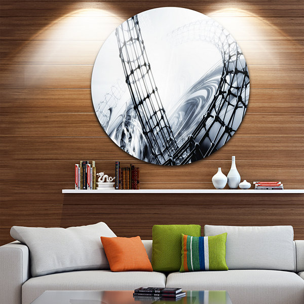 Design Art Fractal 3D Black White Circle Metal Wall