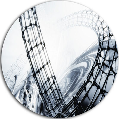 Design Art Fractal 3D Black White Design Circle Metal Wall Art