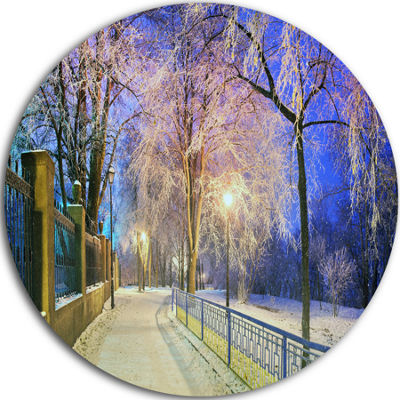 Design Art Bright Blue Mariinsky Garden Circle Metal Wall Art